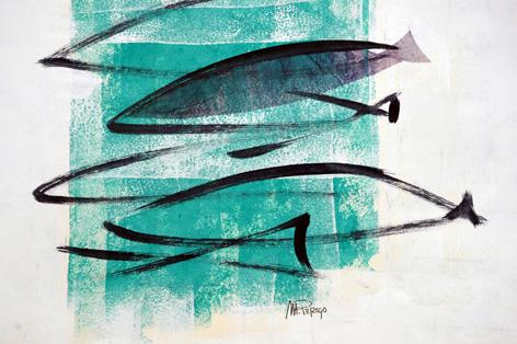 I pesci - tecnica mista su tela